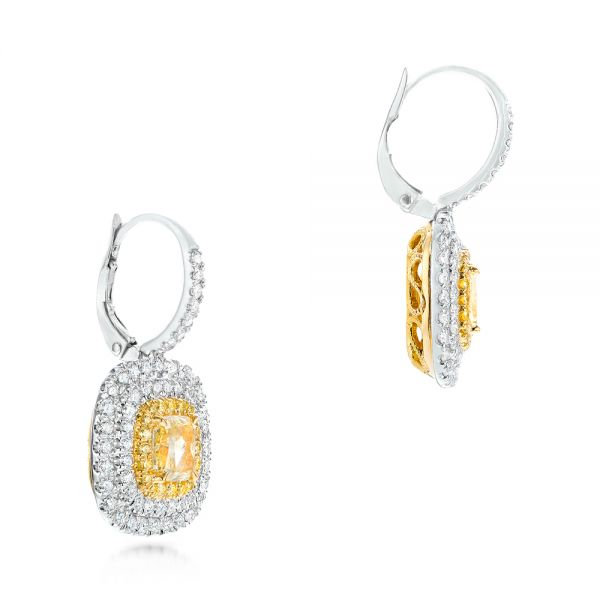 18K Gold And 18k White Gold Natural Yellow Diamond Earrings - Front View -