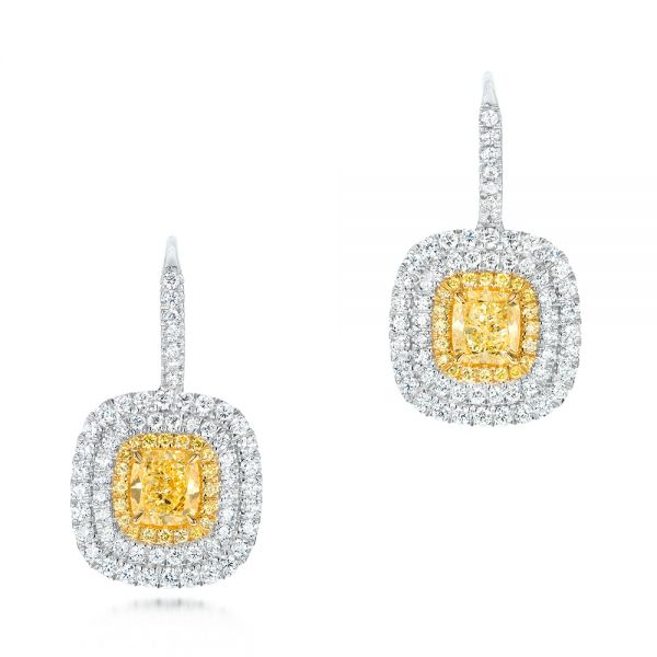 Natural Yellow Diamond Earrings - Image