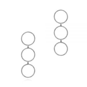 Open Circle Diamond Earrings with Black Rhodium - Image