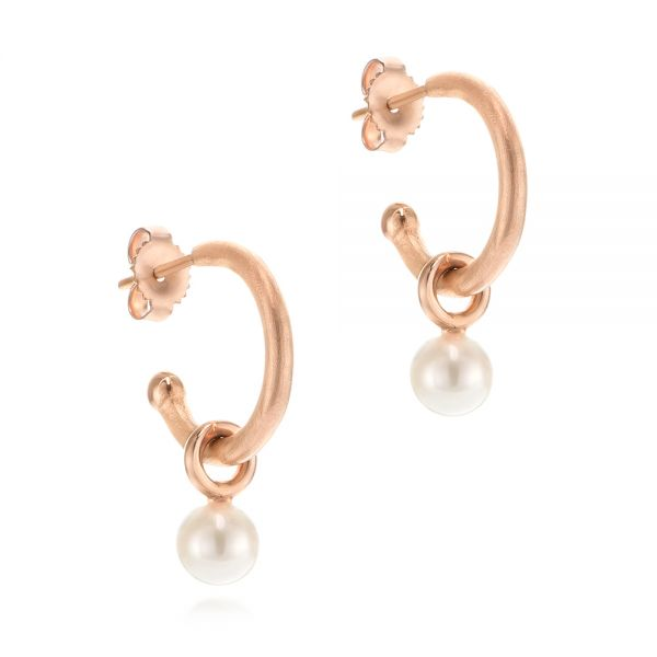 14k Rose Gold Open Hoop Pearl Earrings - Front View -  105810