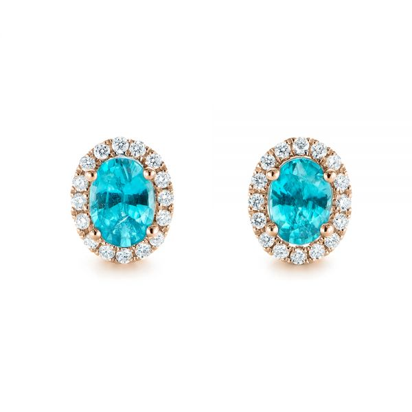 14k Rose Gold Oval Blue Zircon And Diamond Halo Earrings