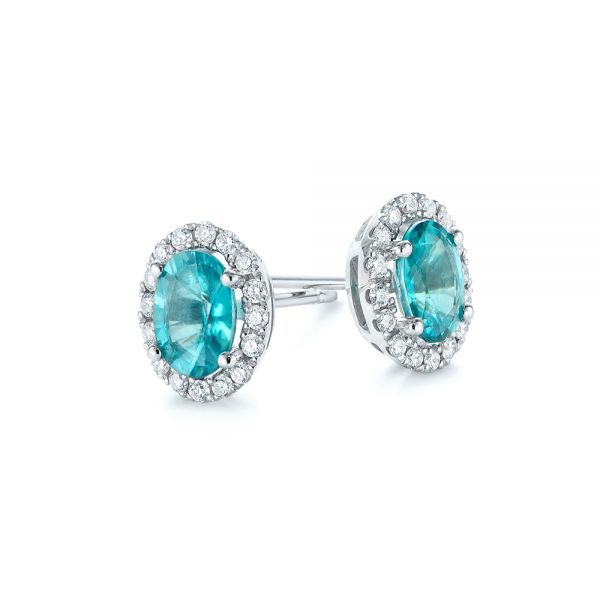 14k White Gold Oval Blue Zircon And Diamond Halo Earrings - Front View -  105010 - Thumbnail