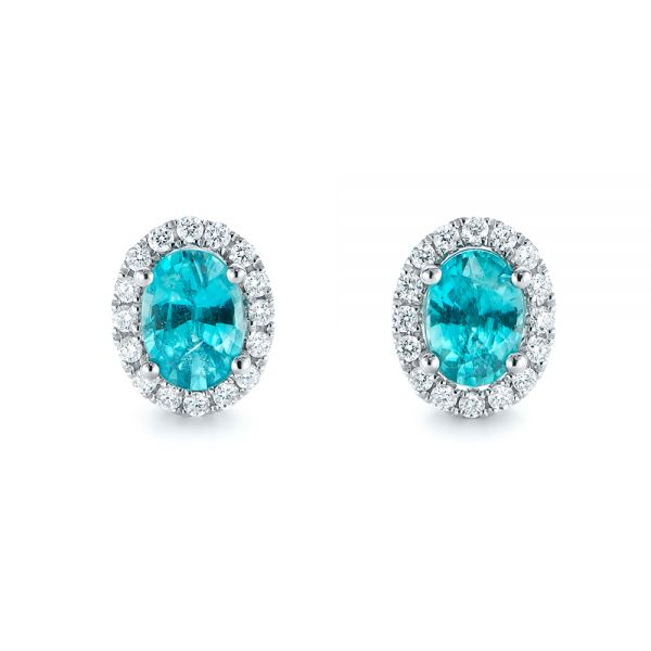 Oval Blue Zircon and Diamond Halo Earrings - Image