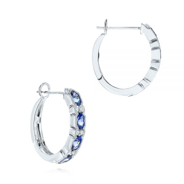 Platinum Platinum Pastel Blue Sapphire And Diamond Hoop Earrings - Front View -  106063