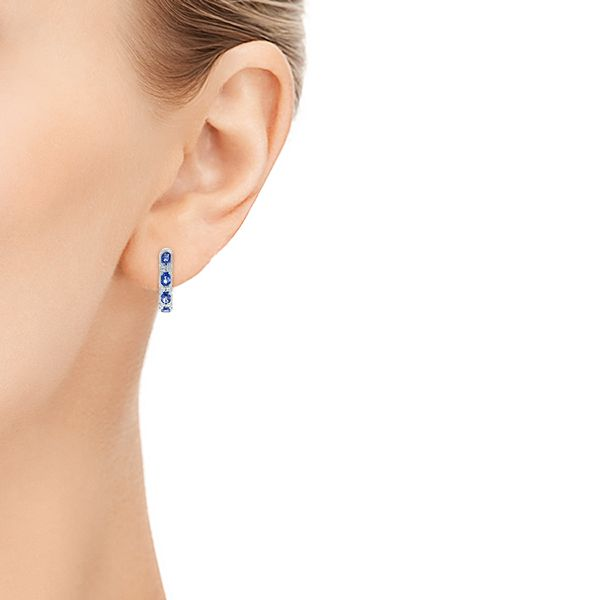 Platinum Platinum Pastel Blue Sapphire And Diamond Hoop Earrings - Hand View -  106063