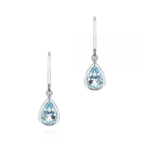 Pear Shaped Aquamarine and Diamond Earrings - Image