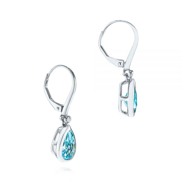14k White Gold Pear Shaped Blue Topaz And Diamond Earrings - Front View -  106055
