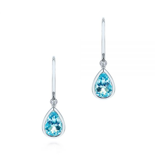 Pear Shaped Blue Topaz and Diamond Earrings - Image