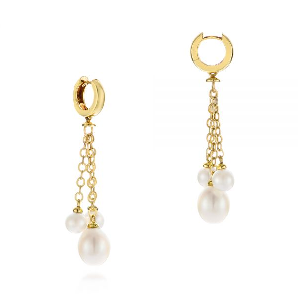 18k Yellow Gold Pearl Drop Earrings - Front View -  105350