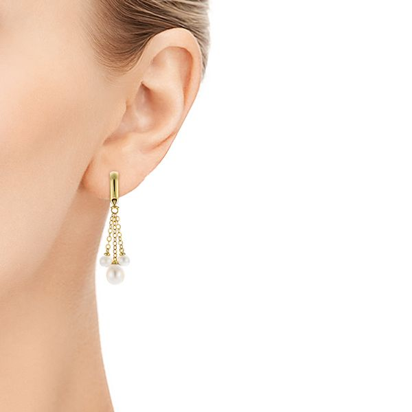 18k Yellow Gold Pearl Drop Earrings - Hand View -  105350