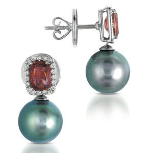 Pearl, Topaz and Diamond Earrings - Vanna K