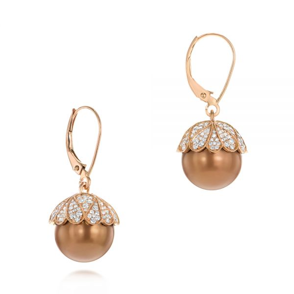 Pearl and Diamond Dangle Earrings - Front View -  103540 - Thumbnail