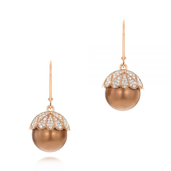 Pearl and Diamond Dangle Earrings - Image