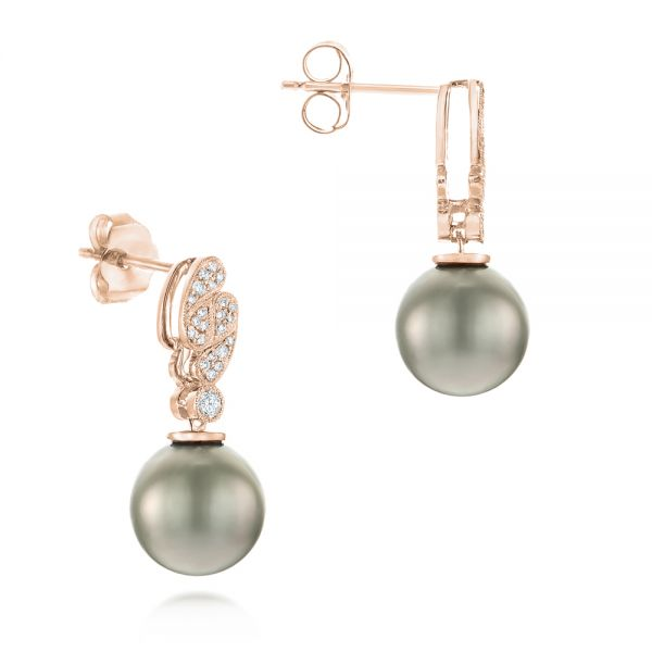 14k Rose Gold 14k Rose Gold Pearl And Diamond Drop Earrings - Front View -