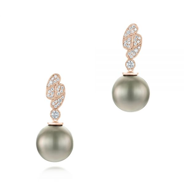 14k Rose Gold 14k Rose Gold Pearl And Diamond Drop Earrings - Three-Quarter View -