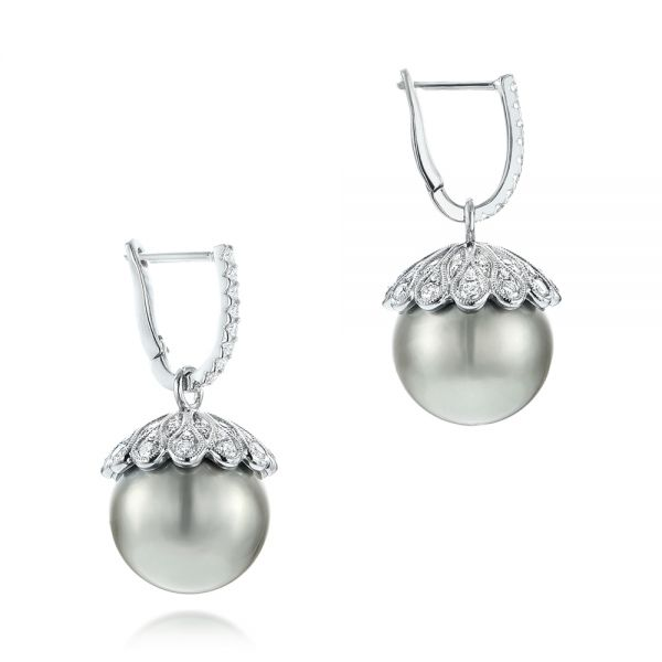 18k White Gold Pearl And Diamond Drop Earrings - Front View -