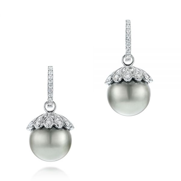18k White Gold Pearl And Diamond Drop Earrings - Three-Quarter View -