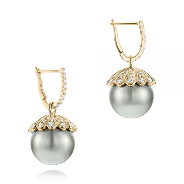 14k Yellow Gold 14k Yellow Gold Pearl And Diamond Drop Earrings - Front View -  103293