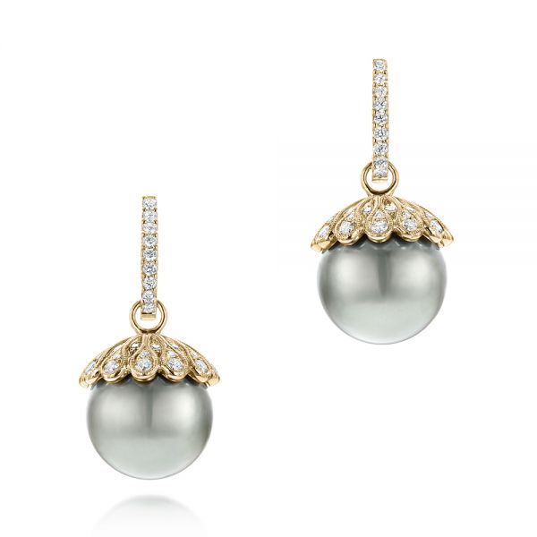 14k Yellow Gold 14k Yellow Gold Pearl And Diamond Drop Earrings - Three-Quarter View -  103293