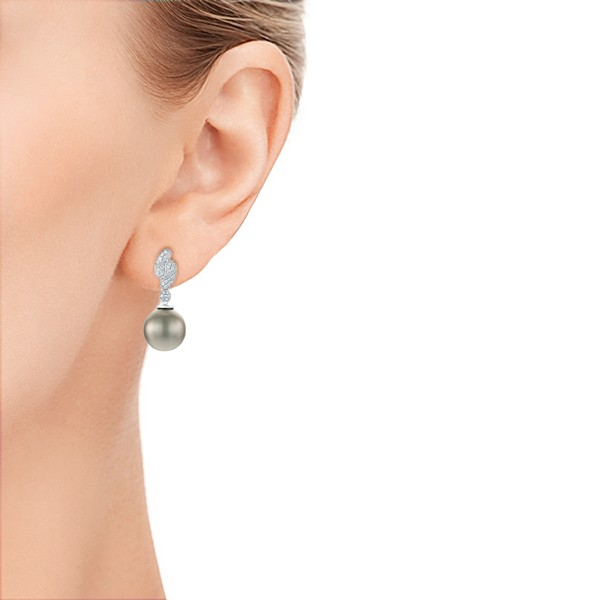 Pearl and Diamond Drop Earrings  - Hand View -  103618 - Thumbnail