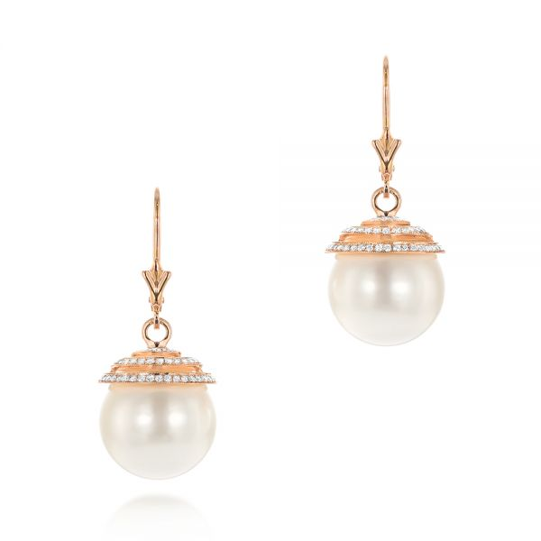 Pearl and Diamond Drop Earrings - Image