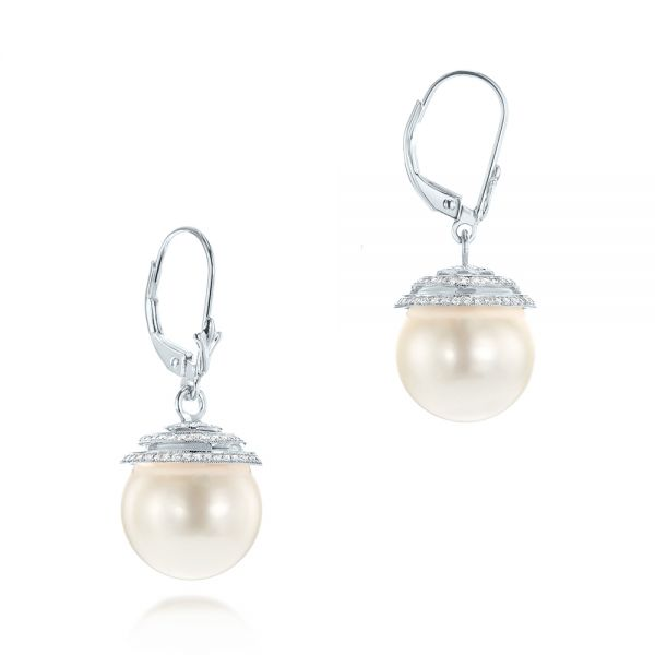 14k White Gold 14k White Gold Pearl And Diamond Drop Earrings - Front View -