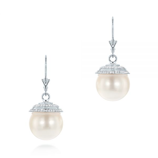 14k White Gold 14k White Gold Pearl And Diamond Drop Earrings - Three-Quarter View -