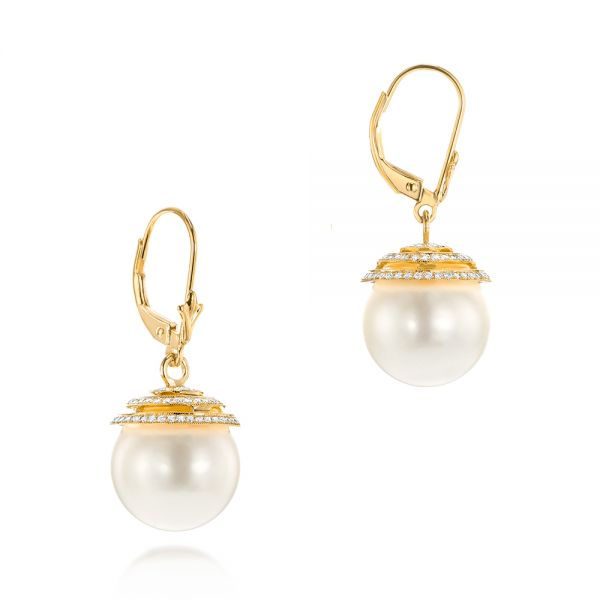 18k Yellow Gold 18k Yellow Gold Pearl And Diamond Drop Earrings - Front View -