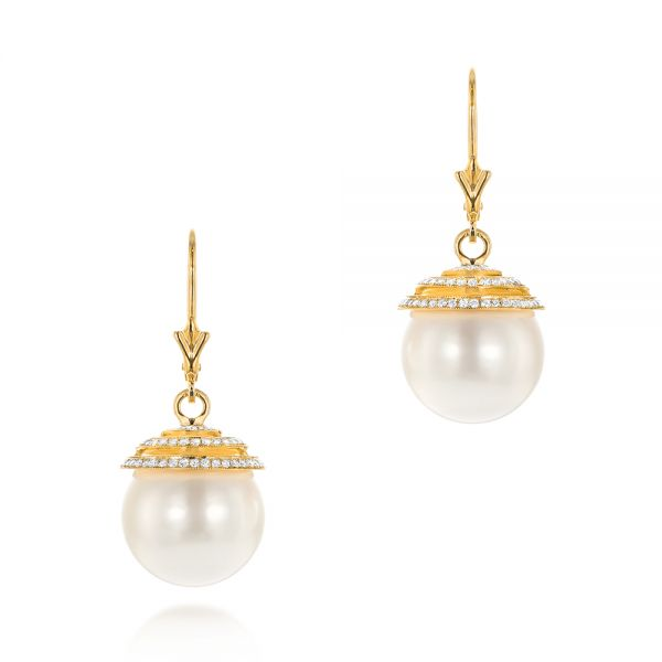 18k Yellow Gold 18k Yellow Gold Pearl And Diamond Drop Earrings - Three-Quarter View -