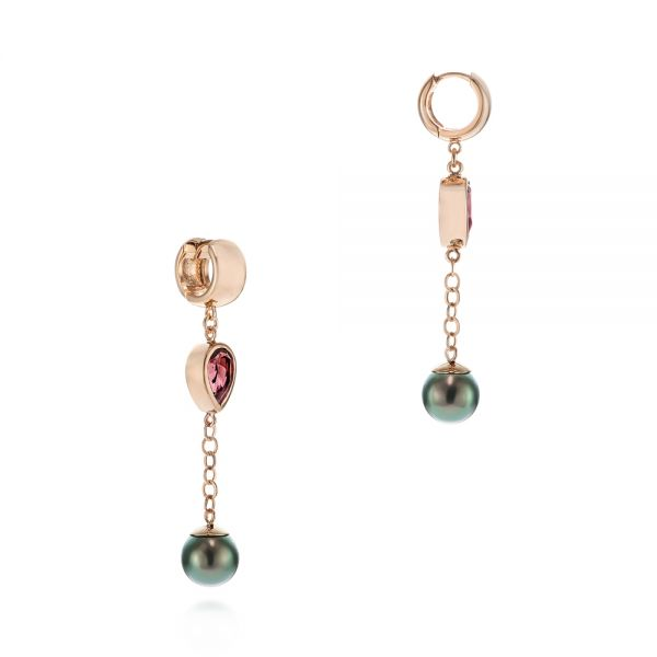 18k Rose Gold 18k Rose Gold Pearl And Garnet Drop Earrings - Front View -  105851