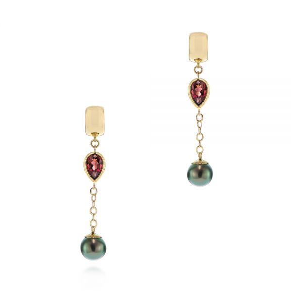 Pearl and Garnet Drop Earrings - Image