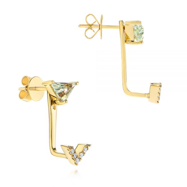 Peek-a-boo Stud Earrings with Diamonds and Green Amethyst - Front View -  104358 - Thumbnail