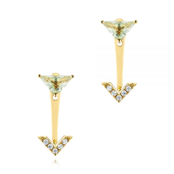 Peek-a-boo Stud Earrings with Diamonds and Green Amethyst - Image