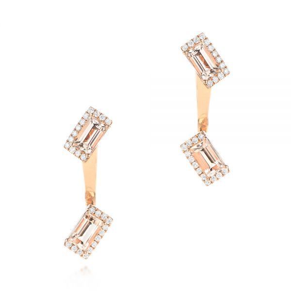 Peek-a-boo Stud Earrings with Diamonds and Morganite