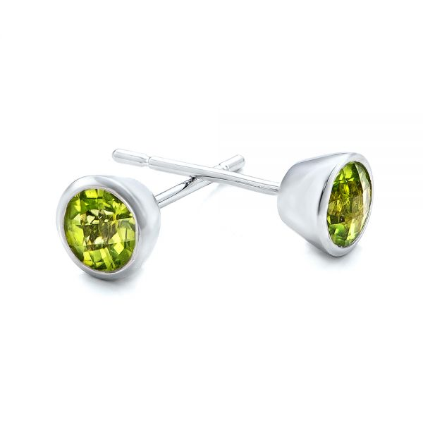14k White Gold Peridot Bezel Set Stud Earrings - Front View -  101029