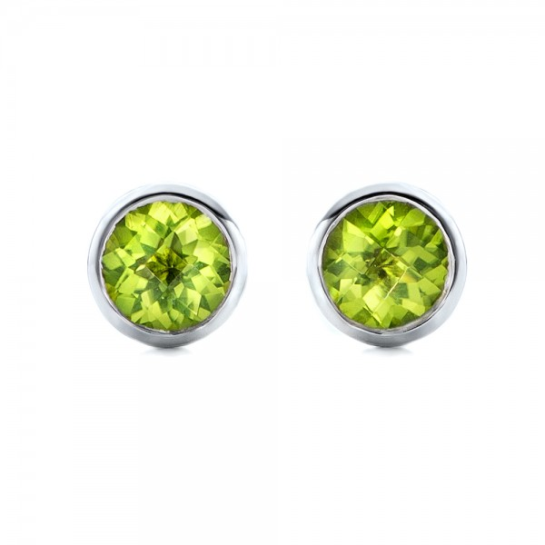 Peridot Bezel Set Stud Earrings