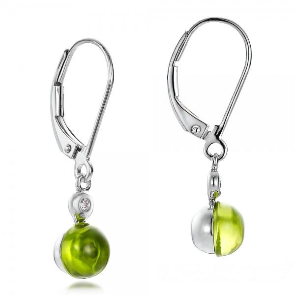 Peridot Cabochon and Diamond Earrings - Laying View