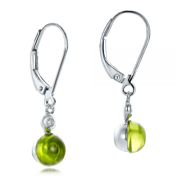 Peridot Cabochon and Diamond Earrings - Front View -  100448 - Thumbnail