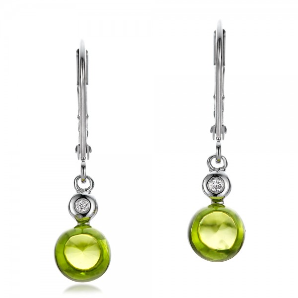 Peridot Cabochon and Diamond Earrings