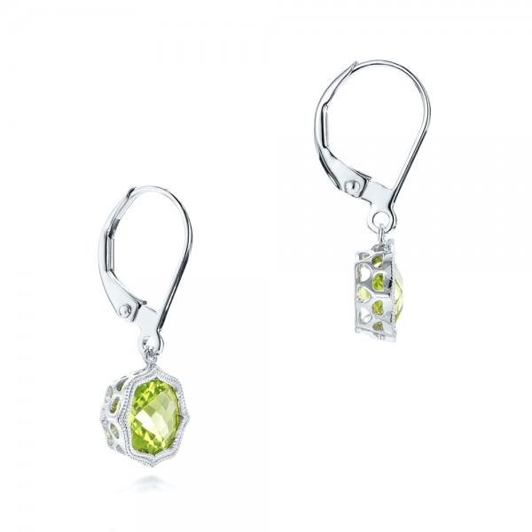 Peridot Leverback Earrings - Laying View