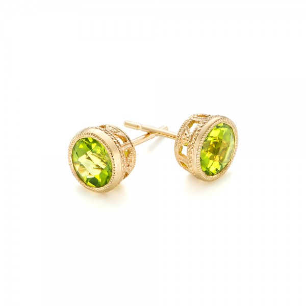 Peridot Stud Earrings - Laying View