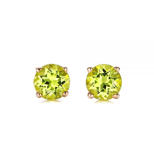 14k Rose Gold 14k Rose Gold Peridot Stud Earrings - Three-Quarter View -  100934