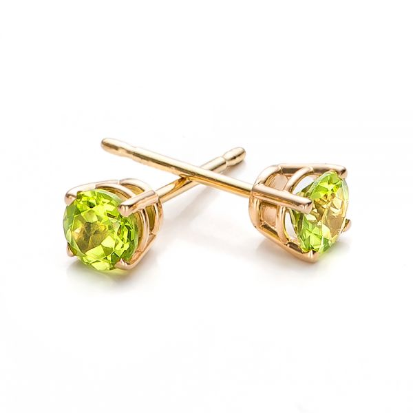 14k Yellow Gold Peridot Stud Earrings - Front View -  100934