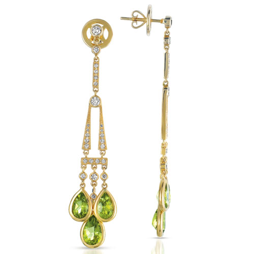 Peridot and Diamond Earrings - Vanna K