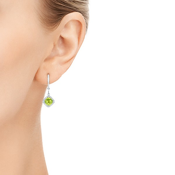 Peridot and Diamond Halo Earrings - Hand View -  102642 - Thumbnail