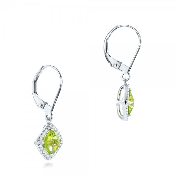Peridot and Diamond Halo Earrings - Flat View -  102642 - Thumbnail