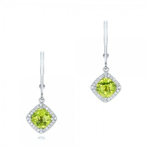 Peridot and Diamond Halo Earrings
