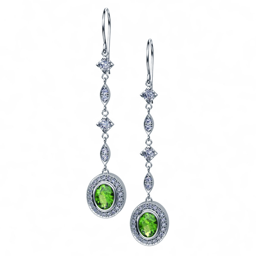 Peridot and Princess Cut Diamond Earrings