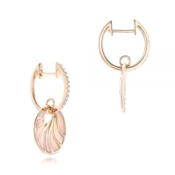 Pink Mother Of Pearl And Diamond Mini Venus Earrings - Front View -