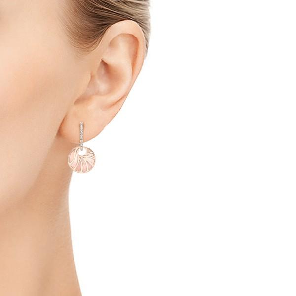 Pink Mother of Pearl and Diamond Mini Venus Earrings - Model View